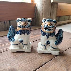 豆シーサー/呉須描き分け