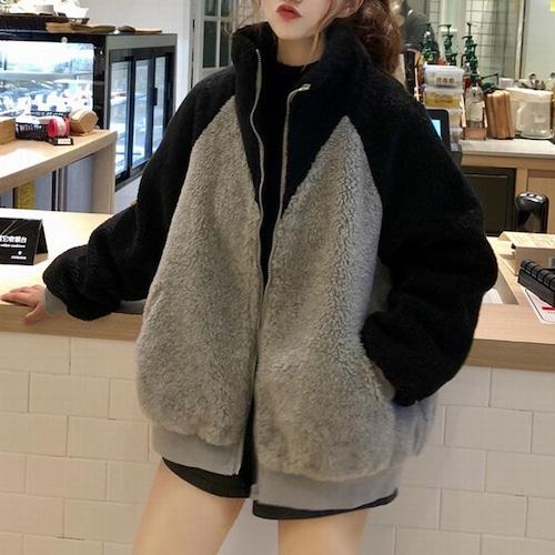 ボアブルゾン バイカラー アウター 韓国ファッション レディース ブルゾン ジャケット もこもこ フロントジッパー DTC-605491386925
