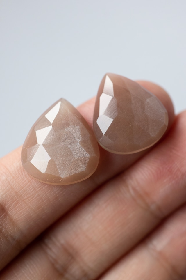 Faceted Moonstone Pair  - 014