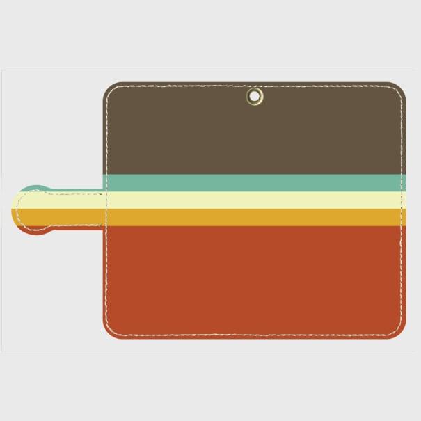 レトロストライプ(暗灰・水・薄緑・橙) / Androidスマホケース(手帳型ケース)