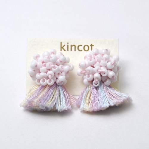 kincot ビーズフリンジピアス(ライトピンク)