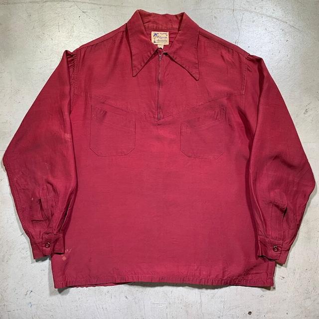 40's~ 50's Pilgrim ピルグリム レーヨンプルオーバーシャツ ハーフジップ Sears ストアブランド REG表記 ワインレッド ロングポイント Lサイズ 希少 ヴィンテージ BA-1598 RM2017H