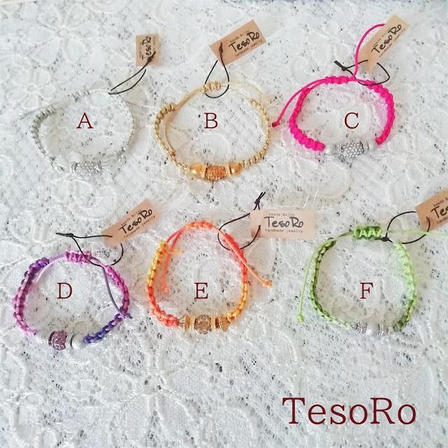 TesoRo:マクラメキラキラブレス A ~F 選べる 6色♪