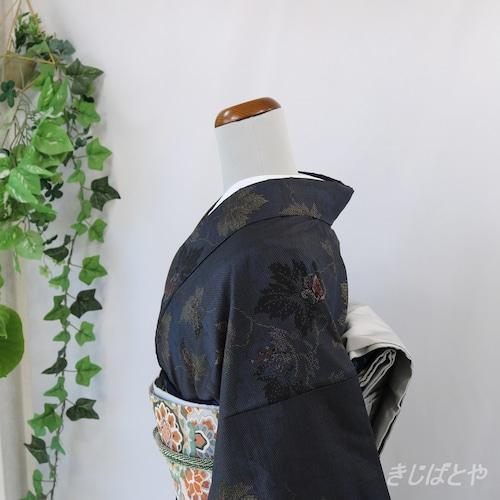 大島紬 濃紺に花 袷