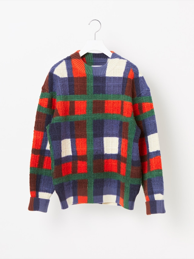 【COOHEM WOMEN】OVER-PRINTED CHECK KNIT PULLOVER