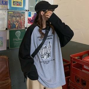 【トップス】プリント切り替え韓国系レトロシンプルTシャツ42908224