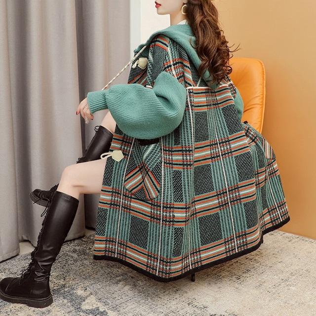 ミドル丈チェック柄セーターカーディガン 3色 【210465】 大きめワンサイズ