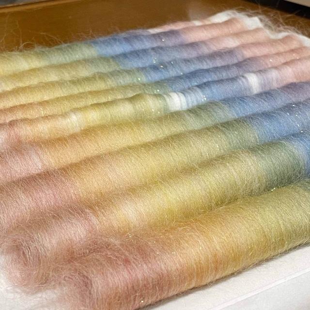 OGY26)大人の女シリーズ 10色ブレンドのローロングセット 手紡ぎ毛糸用ブレンド羊毛