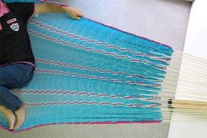 """ハンモック  """"Bed-mock""""  ( Turquoise blue × Pink and Plain stripes )    Size-S  (180cm)"""