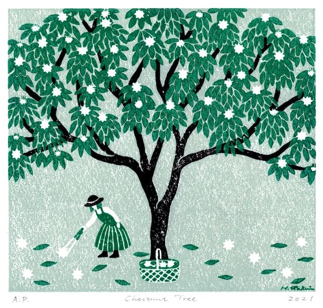 版画シート 栗の木  Chestnut Tree