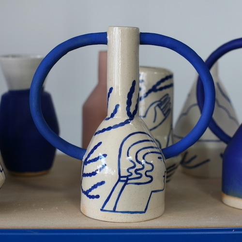 "Sophie Alda ""Extra large jug eared vase in cream and blue"""