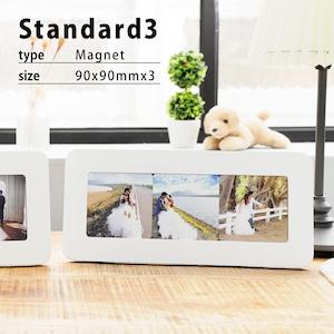 マグネットフォトスタンドStandard3(ホワイトフォトフレーム/90x90mmマグネット3枚セット)/Instagram印刷などに最適/オンラインプリント/写真印刷