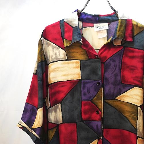 【USED】総柄 レーヨン デザイン オープンカラー シャツ