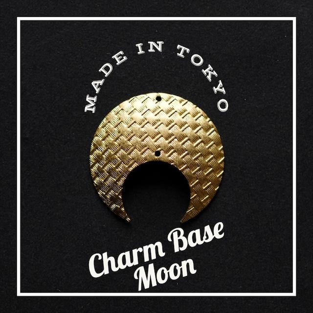 【1個】チャーム・ベース 三日月A(2穴)バスケットチェック模様(日本製、真鍮、無垢)