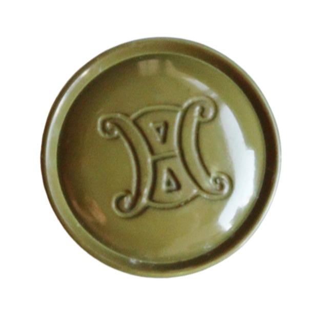 【VINTAGE  CELINE BUTTON】セリーヌ カーキ ロゴボタン  2.1cm L-19021