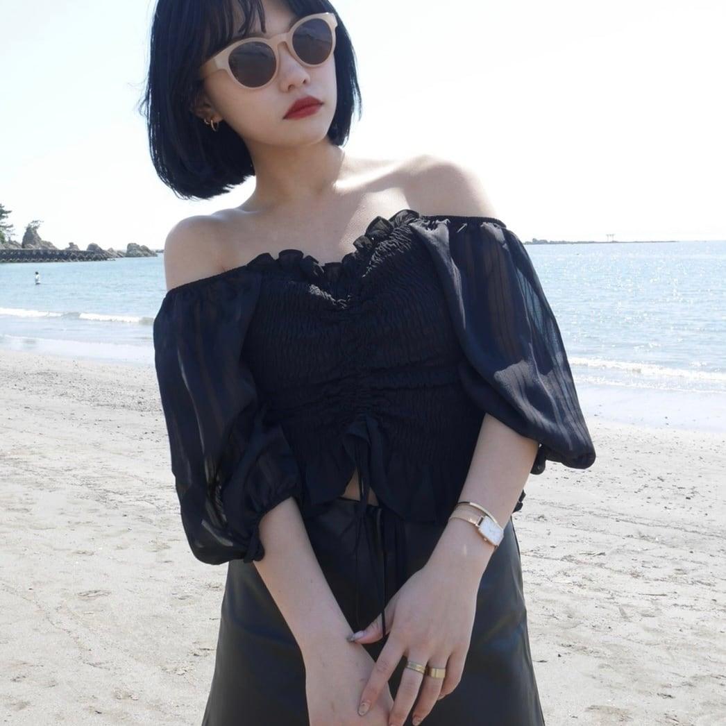 【Belle】shirring silky blouse / black