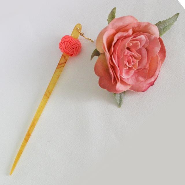 【suifuyouコラボ商品】バラと玉結びのかんざし2(現品限り)