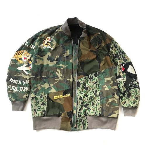 ミリタリーシャツ再構築 ジャケット MILITARY REMAKE MIX BOMBER JACKET militarybomberjk102