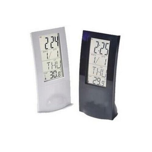予約 温度計付目覚まし時計 デジタル時計 置き時計 めざまし時計 卓上時計 デジタルクロック カレンダー アラーム スヌーズ機能 シンプル ブラック ホワイト 黒 白 cw-a-2907