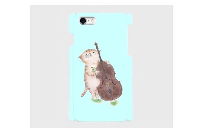 (iPhone用)コントラバス猫のスマホケース