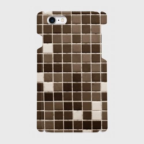 モザイクタイル(黒)/ iPhoneスマホケース(ハードケース)