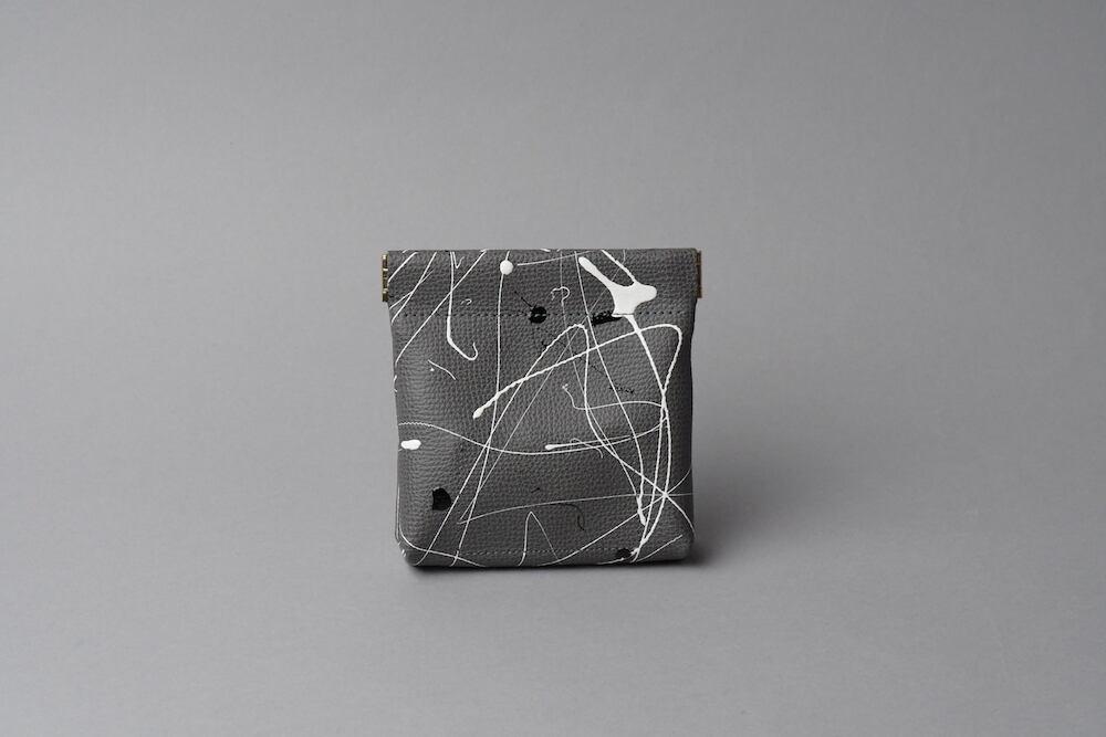 ワンタッチ・コインケース ■drip type ダークグレー・エナメルブラック■ - 画像2