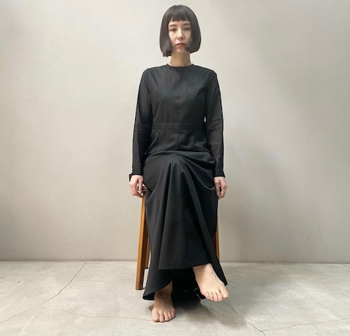 New!!  Gored panel dress / Black×Black (2021 New collection)