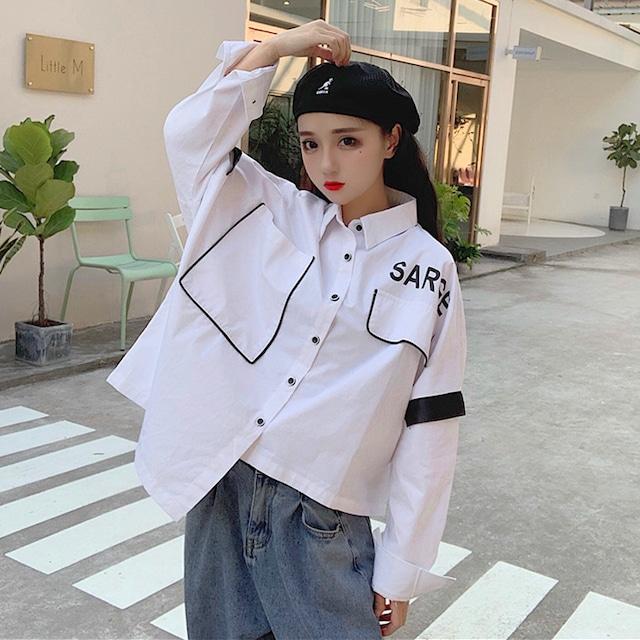 【トップス】不規則長袖カジュアル切り替えファッションシャツ42918934