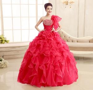 カラードレス ロングドレス 赤 ピンク レッド ワンショルダー 結婚式二次会 発表会 披露宴 演奏会 大きいサイズ  小さいサイズ 8002