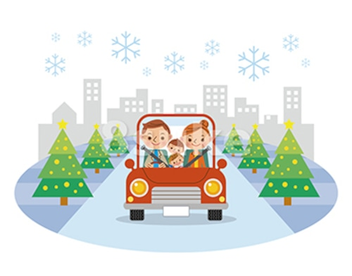 イラスト素材:ドライブを楽しむ家族/年末・冬(ベクター・JPG)