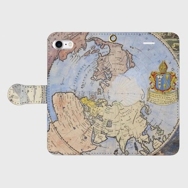 アンティークマップ(1600年代) / iPhoneスマホケース(手帳型ケース)