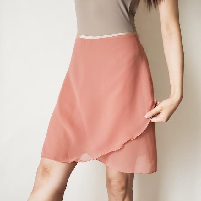 LONG wrap skirt【コーラルピンク×ライトベージュ】
