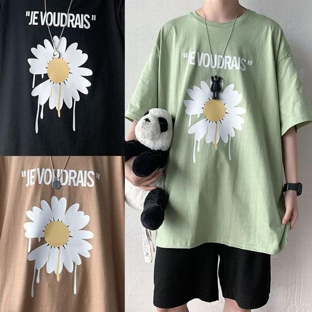 ユニセックス Tシャツ 半袖 メンズ レディース ラウンドネック 英字 フラワー デイジー プリント オーバーサイズ 大きいサイズ ルーズ ストリート TBN-612389429637