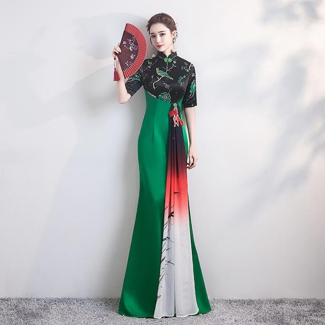 改良型チャイナドレス 成人式パーティードレス ロングドレス お呼ばれ 大きいサイズ S M L LL 3L 4L 着痩せ 赤 緑