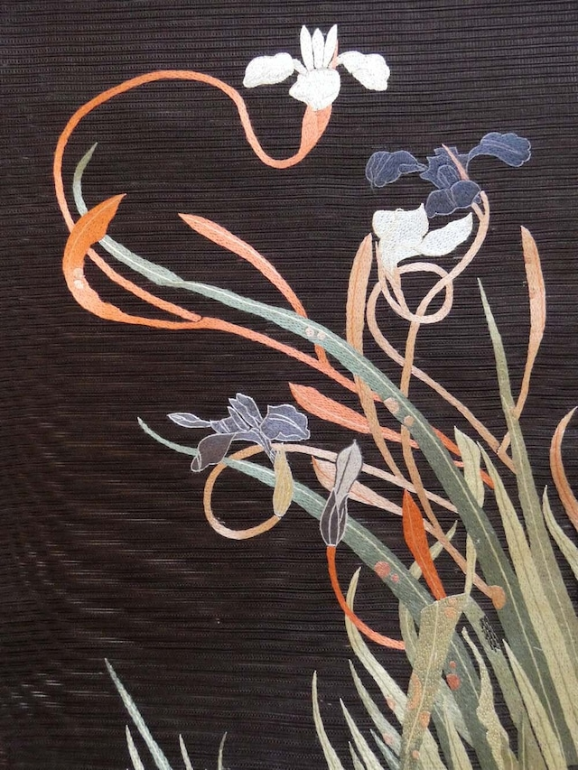 夏帯 菖蒲の刺繍 【定価 437800 】