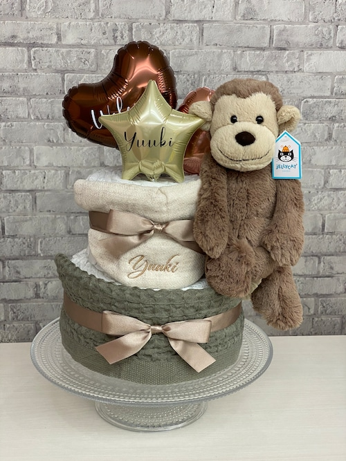 New!!ナチュラルカラー!monkeyのおむつケーキ
