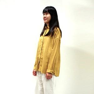 [ボタニカルダイ]タマネギ染 ソフトな綿麻ゆったりシャツ 8514-01014-60