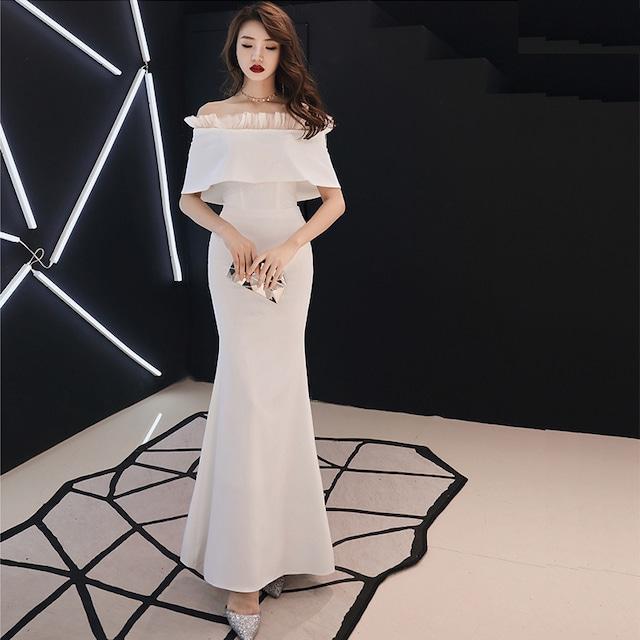 ボートネック マーメイドライン イブニングドレス パーテイードレス ロングワンピース 大きいサイズ 二次会 お呼ばれ 女子会 ホワイト XS S M L 2L 3L 4L