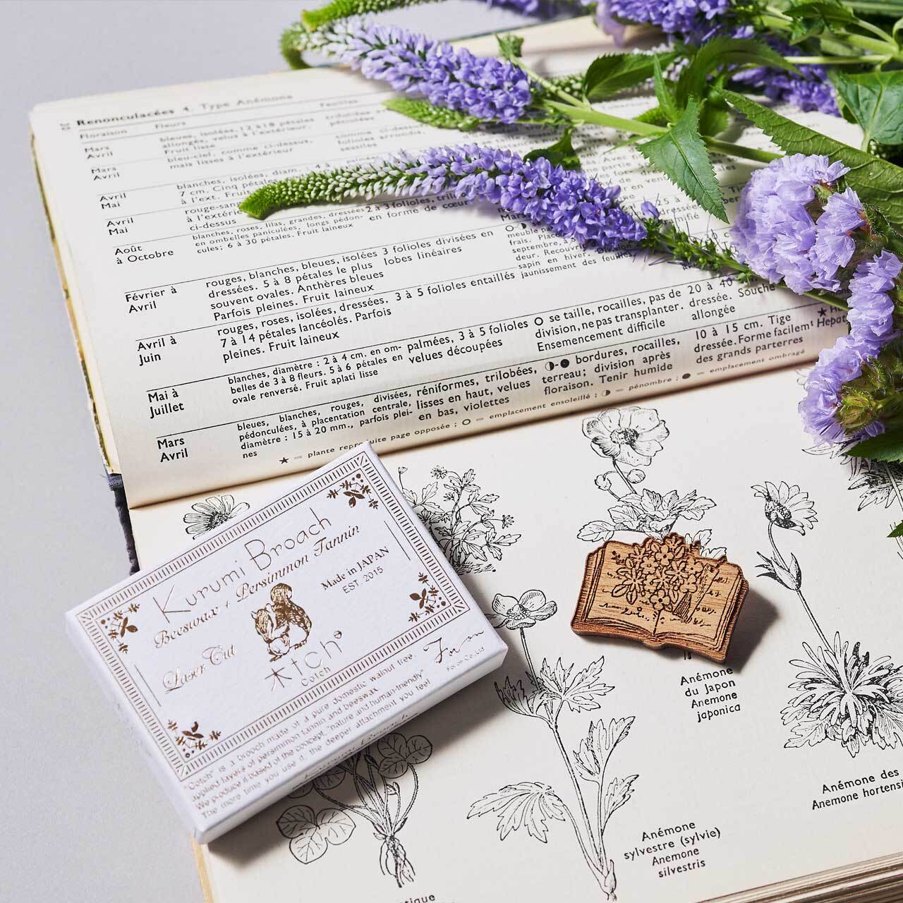 books and flowers / 本とお花(Brooch)