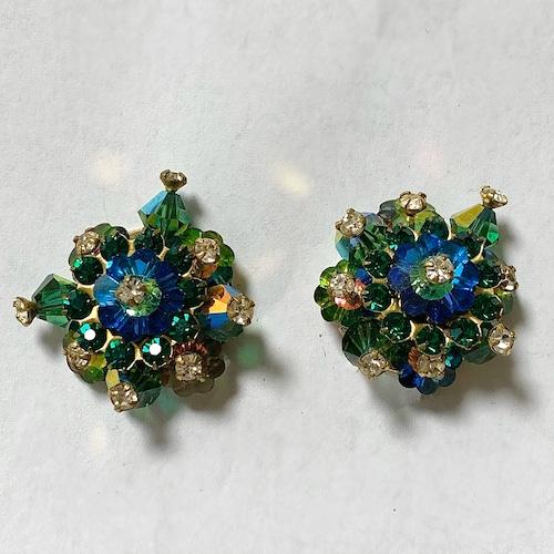 Vintage Multi Color Cluster Earrings ②
