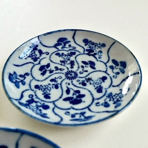 [NO.021] 花染付小皿 大正(1個) / Flower Blue & White Porcelain Plates  / Taisho Era