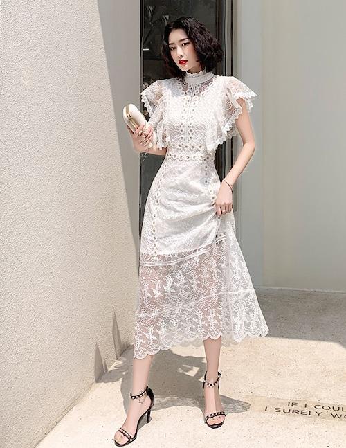ホワイト ロングドレス マット パーティードレス TM0145