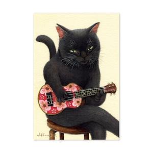 25.ウクレレ弾きの黒猫 ポストカード / Black Cat and Ukulele Postcard