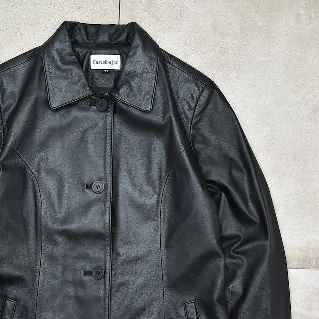 Castelbajac black luster leather coat