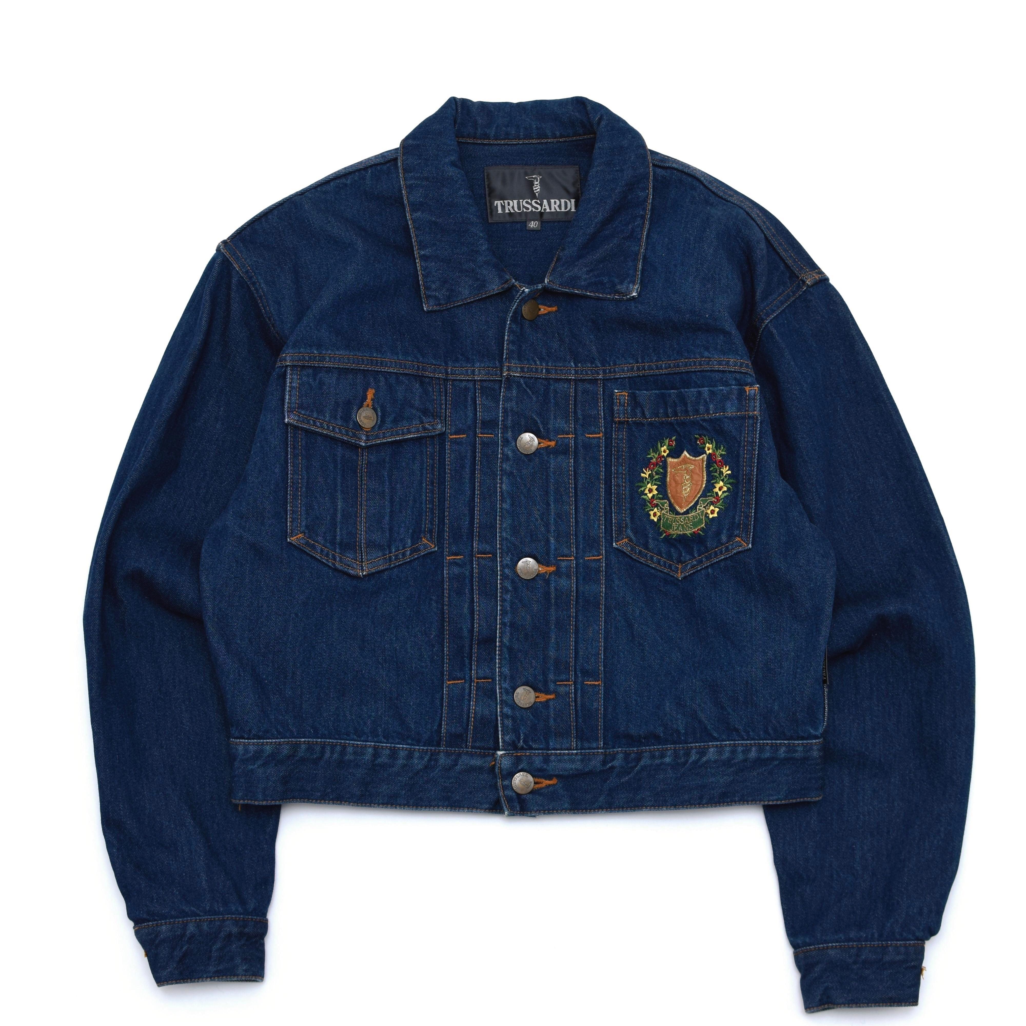 TRUSSARDI  emblem embroidery denim jacket