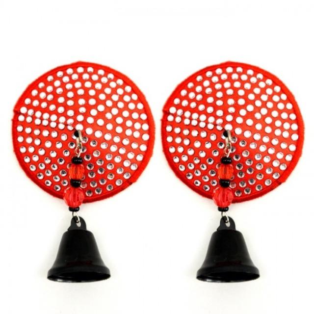 ニプレス丸型 赤 ダイヤモンドカットビーズ ベルタッセル付き ラインストーンニプレス BDN601RED