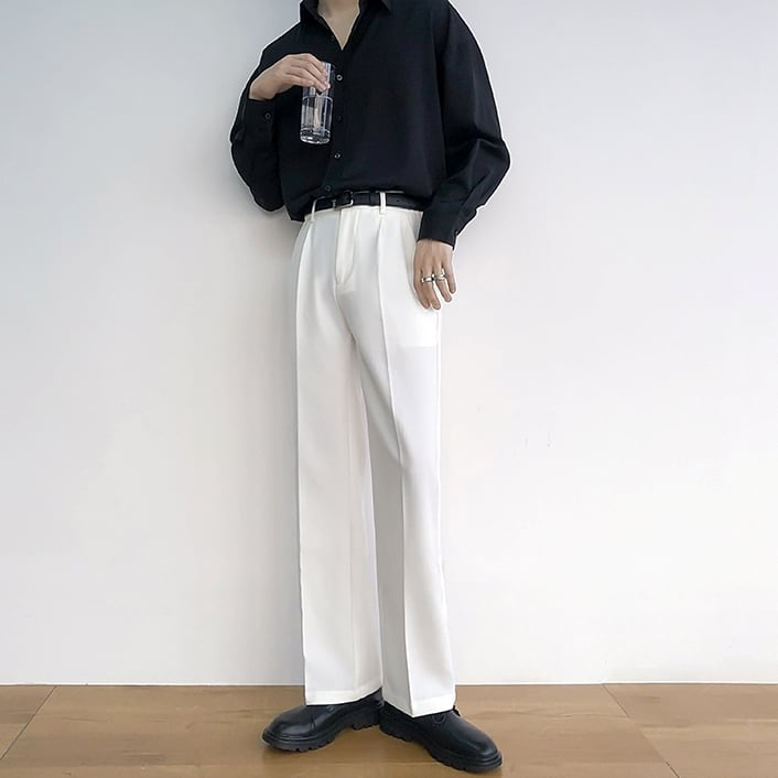 High waist drape straight pants   b-378
