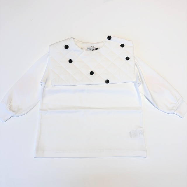 【21AW】フランキーグロウ ( frankygrow )REMOVABLE QUILTING SAILOR COLLAR L/S TEE[ F ]white-white*black dots collar トップス ロンT