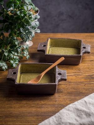アメ釉 正角 グラタン皿(耐熱皿・角皿・深皿)/吉永哲子
