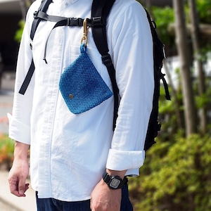 うしじま縫製   武州正藍染 マスクケース ナスカン付き 二重刺子